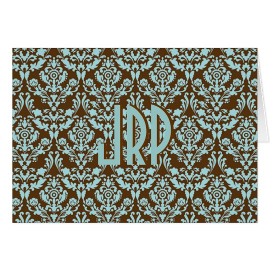 Monogrammed Brown & Blue Damask Card