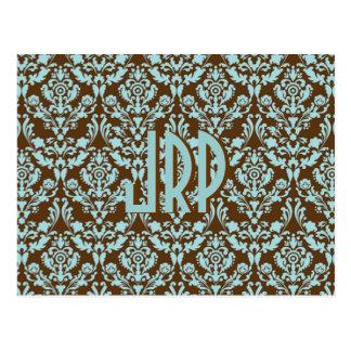 Monogrammed Brown & Blue Damask Postcard