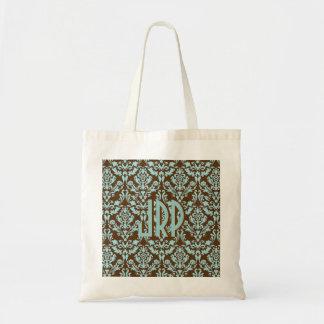 Monogrammed Brown & Blue Damask Tote Bag