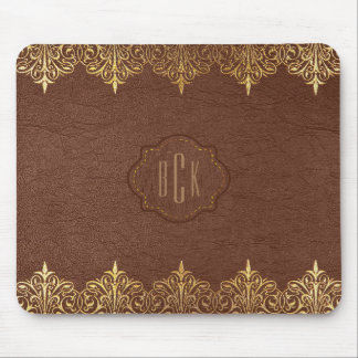 Monogrammed Brown Faux Leather Gold Lace Accent Mouse Pad