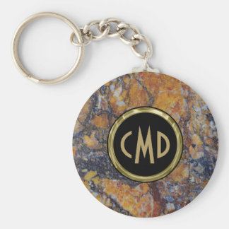 Monogrammed  Brown Faux Marble Stone Keychain