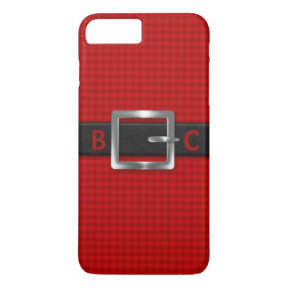 Monogrammed Buckled Black Belt on Red Plaid iPhone 7 Plus Case