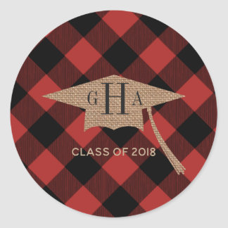Monogrammed Burlap Buffalo Plaid Graduation 2018 Classic Round Sticker
