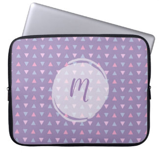 Monogrammed Candy Color Triangle Pattern Laptop Sleeve