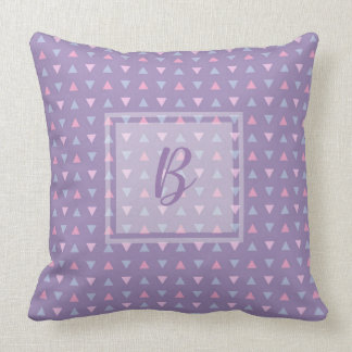 Monogrammed Candy Color Triangle Pattern Throw Pillow