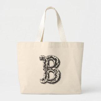 Monogrammed Canvas Tote Bag - B