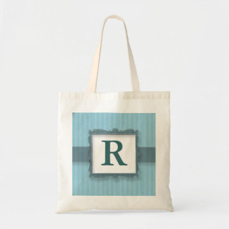 Monogrammed Canvas Tote Bags:Blue Stripes Budget Tote Bag