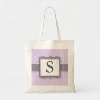 Monogrammed Canvas Tote Bags:Lavender Stripes Budget Tote Bag