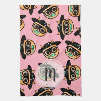 Monogrammed Cat Burglar Illustration Pattern Kitchen Towel