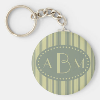 Monogrammed Celery and Sage Green Stripe Basic Round Button Keychain