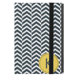 Monogrammed Charcoal and White with Yellow Chevron iPad Mini Cover