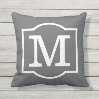 Monogrammed | Charcoal Gray and White Outdoor Pillow