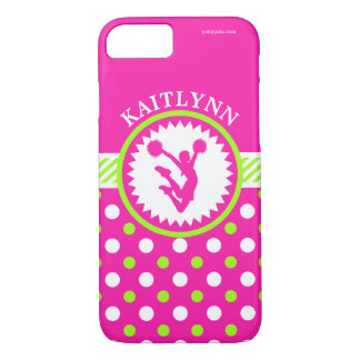 Monogrammed Cheer/Pom Pink and Green Polka-Dots iPhone 7 Case