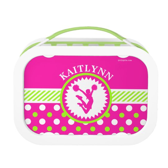 Monogrammed Cheer/Pom Pink and Green Polka-Dots Lunchbox