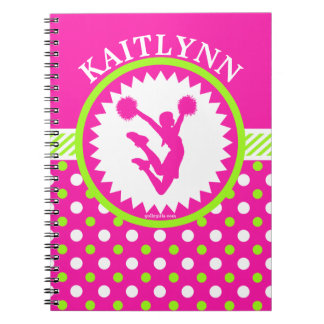 Monogrammed Cheer/Pom Pink and Green Polka-Dots Notebook