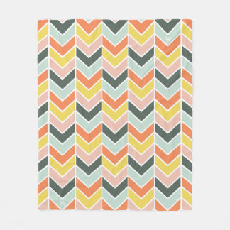 Monogrammed | Cheerful Chevron by Origami Prints Fleece Blanket