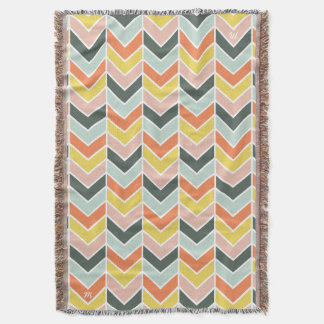 Monogrammed | Cheerful Chevron by Origami Prints Throw