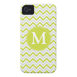 Monogrammed Chevron Pattern Green & Grey Modern Case-Mate iPhone 4 Case