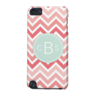 Monogrammed Chevron Pattern Pink Mint Green Custom iPod Touch 5G Cover