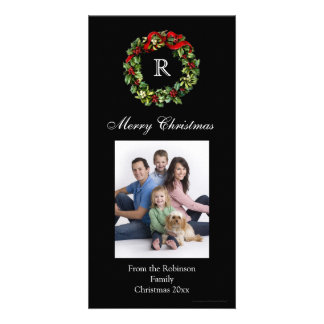 Monogrammed Christmas Classic Wreath Card