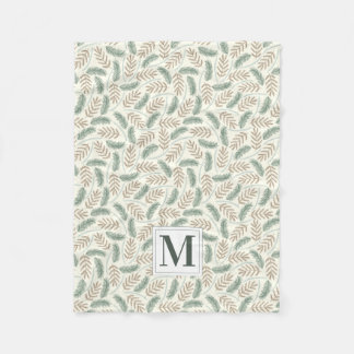 Monogrammed Christmas Foliage Fleece Blanket
