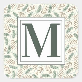 Monogrammed Christmas Foliage Square Sticker