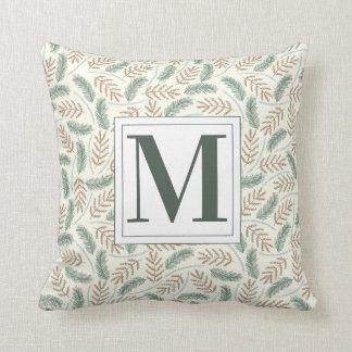 Monogrammed Christmas Foliage Throw Pillow