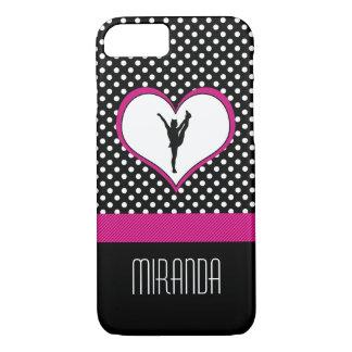 Monogrammed Classic Pink Cheer Polka-Dot w/ Heart iPhone 7 Case