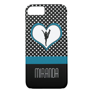 Monogrammed Classic Teal Polka-Dot Cheer w/ Heart iPhone 7 Case