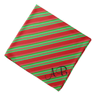 Monogrammed Classy Red and Green Stripes Bandana