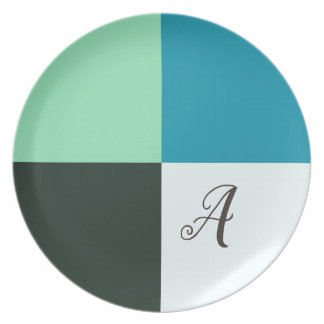 Monogrammed Coal Ivory Teal Blue Turquoise Plate