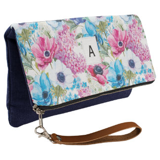 Monogrammed Colorful Floral Pattern  | Clutch