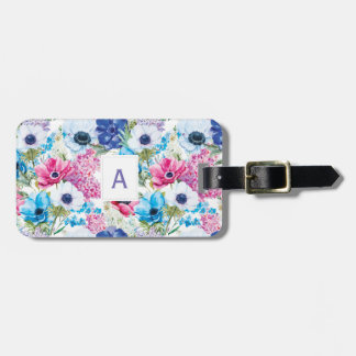 Monogrammed Colorful Floral Pattern Luggage Tag