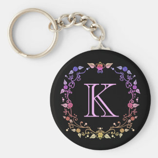 Monogrammed colorful floral wreath basic round button keychain
