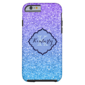 Monogrammed Colorful Glitter And Sparkles Pattern Tough iPhone 6 Case