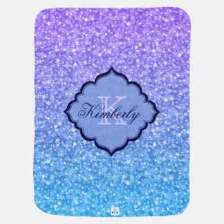 Monogrammed Colorful Glitter Baby Blankets