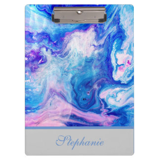Monogrammed Colorful Marble Design Clipboard