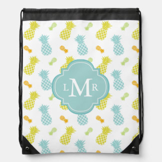 Monogrammed Colorful Pineapples Pattern Drawstring Bag