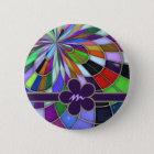 Monogrammed Colourful Abstract Stained Glass 2 Inch Round Button