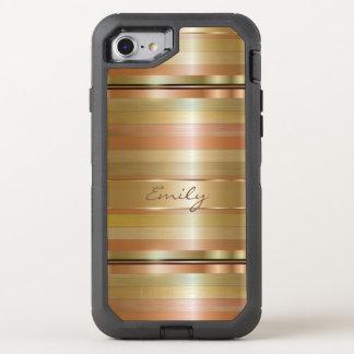Monogrammed Copper Stripes OtterBox Defender iPhone 8/7 Case
