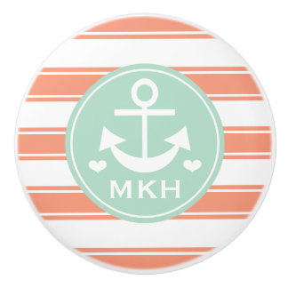 Monogrammed Coral and Aqua Anchor Ceramic Knob