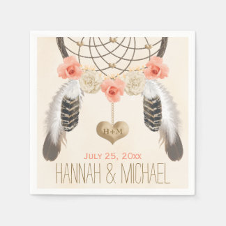 MONOGRAMMED CORAL AND GOLD DREAMCATCHER WEDDING DISPOSABLE NAPKINS