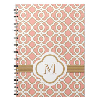 Monogrammed Coral and Gold Moroccan Spiral Note Books