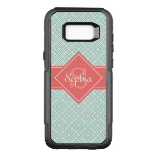 Monogrammed Coral and Mint Diamond Pattern OtterBox Commuter Samsung Galaxy S8+ Case