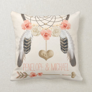 Monogrammed Coral Gold Boho Dreamcatcher Wedding Throw Pillow