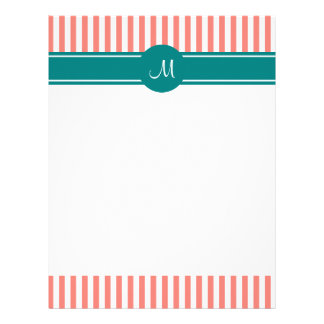 Monogrammed Coral Pink and White Stripes with Teal Letterhead