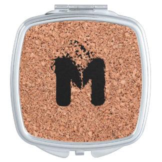 Monogrammed Cork Board - Personalizable Compact Mirror