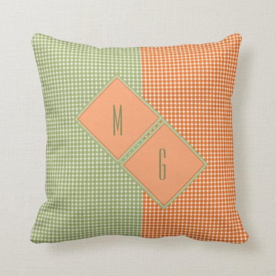 Monogrammed Country Gingham in Green and Orange Throw Pillow