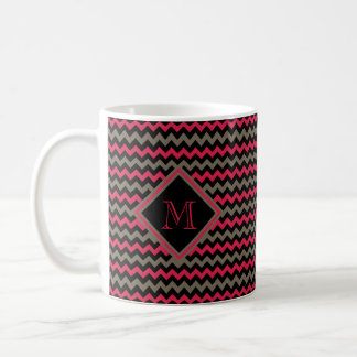Monogrammed Crimson, Brown & Black Chevron Pattern Coffee Mug