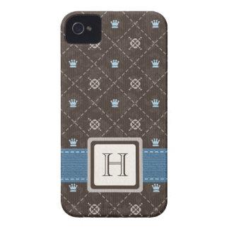 Monogrammed Crown Argyle Blackberry Bold Case